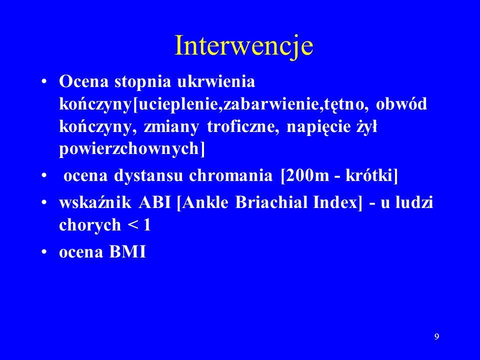 Interwencje Ocena stopnia ukrwienia kończyny[ucieplenie,zabarwienie,tętno, obwód kończyny, zmiany troficzne, napięcie żył powierzchownych]